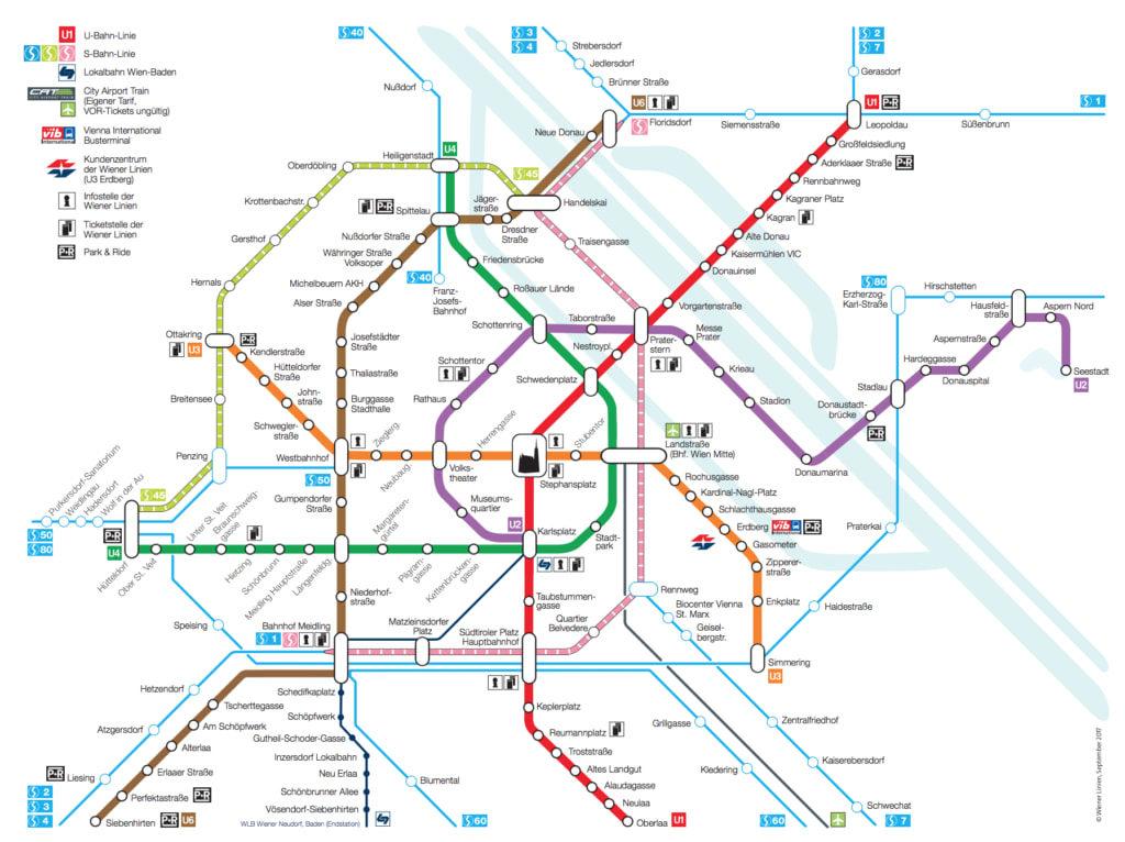 Схема метро Вены